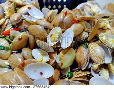 Clams In The Pan Are Cooked