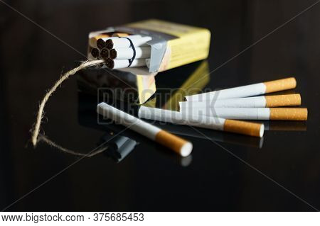 The Concept Of Medicine Is The Fight Against Smoking. Cigarettes In The Form Of Dynamite Checkers In