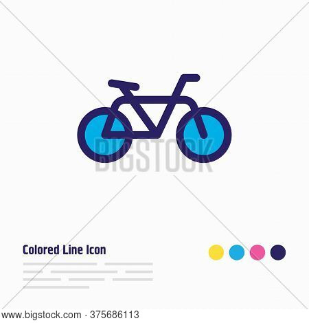 Illustration Of Bike Icon Colored Line. Beautiful Transit Element Also Can Be Used As Bicycle Icon E