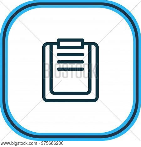 Illustration Of File Board Icon Line. Beautiful Bureau Element Also Can Be Used As Checklist Icon El