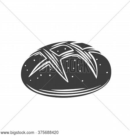 Rye Round Bread Glyph Icon For Bakery Shop Or Food Design. Vector Illustration.