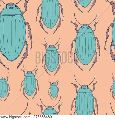 Beetles Seamless Pattern - Vector Seamless Texture Or Background With Bugs. Vector Hand Drawn Illust