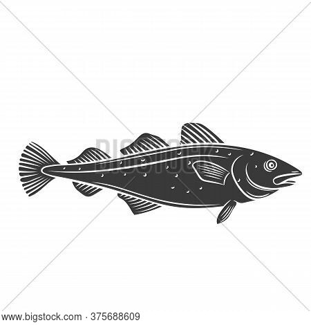 Codfish Glyph Icon. Badge Fish For Design Seafood Packaging And Market. Vector Illustration.