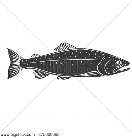 Trout Fish Glyph Icon. Badge Fish For Design Seafood Packaging And Market. Vector Illustration.
