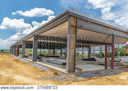 Horizontal Shot Of A Commercial Contruction Project With A View Of The Interior.