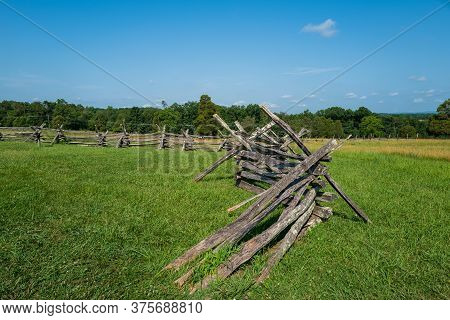 Wide Angle Photo Of Battlefield Barricades In Historic Battlefield National Park In Manassis , Va.