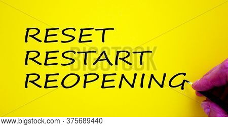 Hand Writing 'reset, Restart, Reopening', Isolated On Beautiful Yellow Background. Concept.