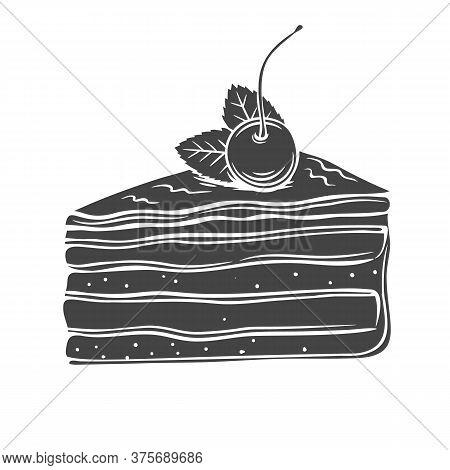 Cake Monochrome Icon. Piece Of Yoghurt Dessert Confectionery With Berries Cherry. Retro Style. Vecto