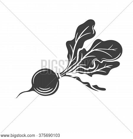 Radish Glyph Icon. Vegetable In Retro Style, Vector Illustration Of Farm Product For Design Advertis