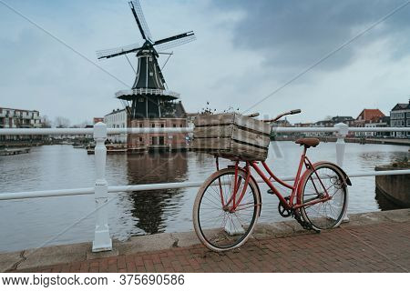 Haarlem City Windmill In Old Town. Netherlands (holland)