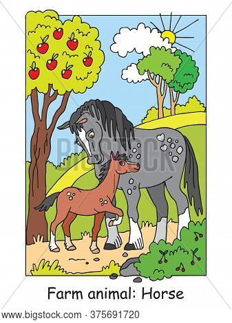 Coloring Pages With Cute Horse And Her Foal Standing In Apple Garden. Cartoon Vector Illustration. S