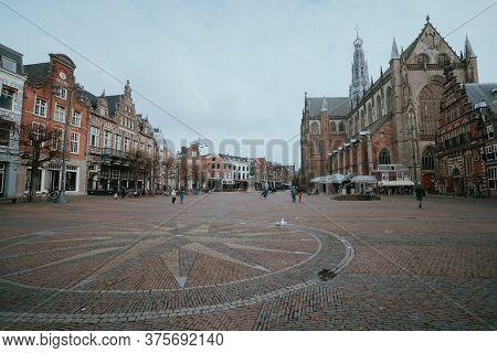 Haarlem, Netherlands - March 6, 2020: Haarlem City Center Old Town