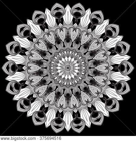 Floral Pattern. Vector Ornamental Round Line Art Mandala Background. Flower. Black And White Ethnic