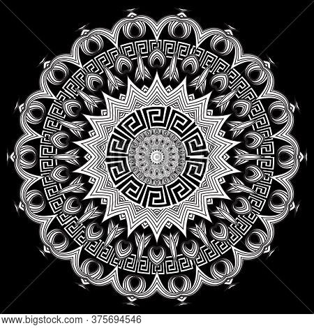 Greek Style Floral Round Mandala Pattern. Vector Ornamental Background. Black And White Ethnic Style
