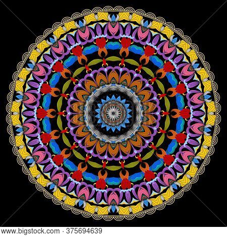 Floral Pattern. Vector Ornamental Round Mandala Background. Flower. Colorful Ethnic Style Backdrop.