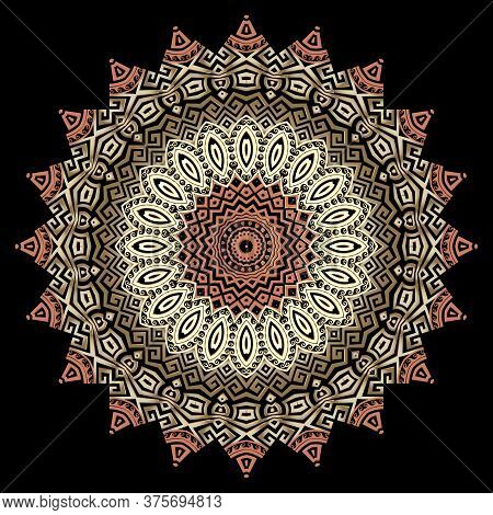 Greek Round Vector Mandala Pattern. Abstract Tribal Ethnic Style Floral Background. Colorful Geometr