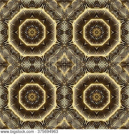 Gold Lines 3d Seamless Pattern. Line Art Patterned Ornamental Grid Background. Gold Intricate Lines