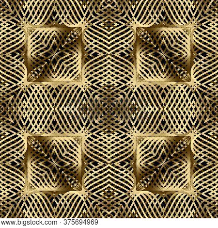 Gold Lines 3d Seamless Pattern. Line Art Patterned Ornamental Grid Background. Gold Wavy Lines Abstr