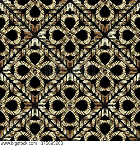 Textured Gold 3d Waffle Seamless Pattern. Tapestry Floral Vector Background. Embroidery Vintage Flow