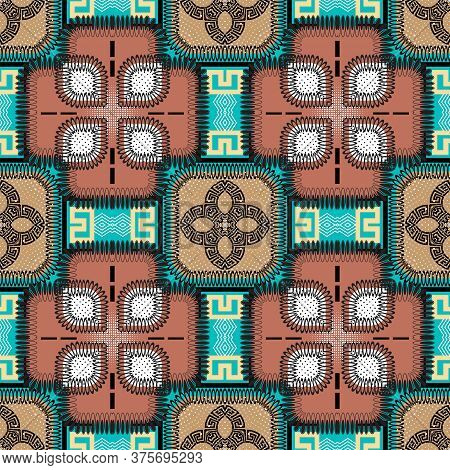 Patchwork Seamless Pattern. Vector Colorful Ornamental Background. Tribal Ethnic Style Repeat Backdr