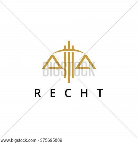 Law Logo Simple Line Balance Icon Vector With Gold Color Company Abstract Design Template