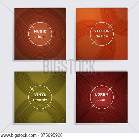 Retro Plate Music Album Covers Collection. Semicircle Curve Lines Patterns. Simple Plate Music Recor