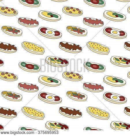 Doodle Cartoon Hipster Style Seamless Pattern Vector Illustration. A Set Of Bruschetta Tapas Canape