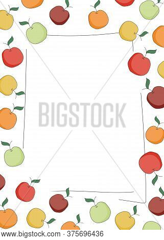 Doodle Cartoon Hipster Style Frame Border Ornament Illustration. Red, Orange, Yellow Green Apples. B