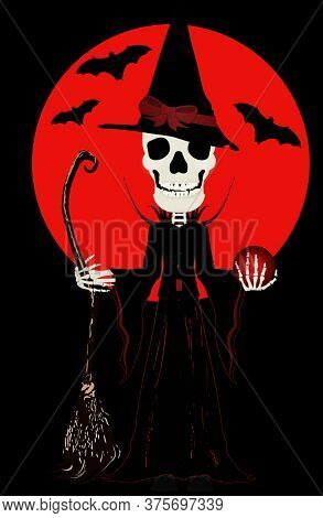 Skeleton Witch with Broom and Magic Orb