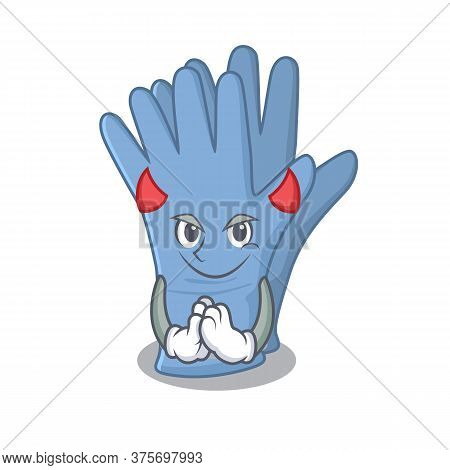 Medical Gloves Clothed As Devil Cartoon Character Design Concept