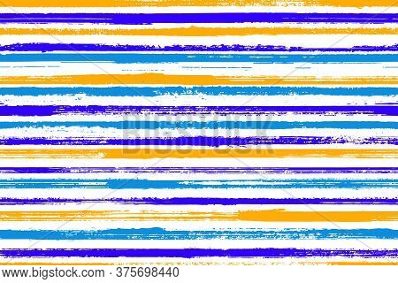 Pain Handdrawn Parallel Lines Vector Seamless Pattern. Variegated Cotton Fabric Print Design. Retro