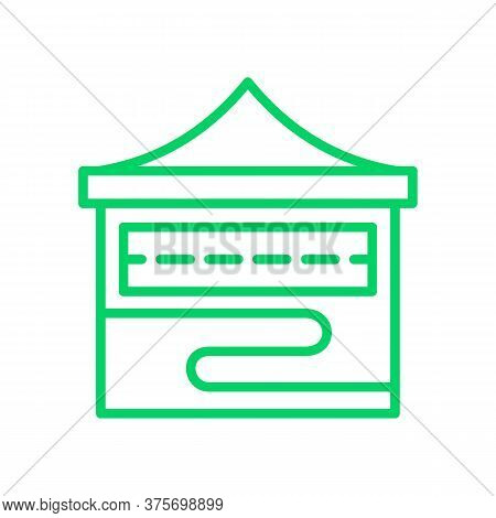 Abstract Symbol Of Folding Stall Or Mobile Marketplace. Structures For Trade, Exhibition, Promotion