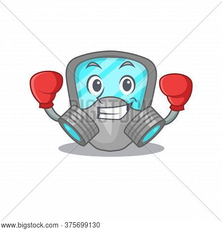 Mascot Design Of Respirator Mask As A Sporty Boxing Athlete