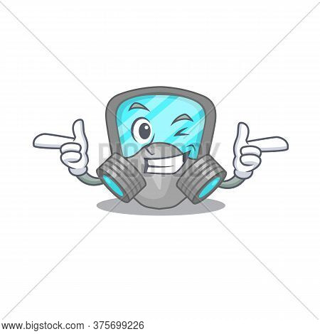 Cartoon Design Of Respirator Mask Showing Funny Face With Wink Eye