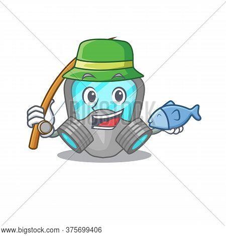 Cartoon Design Style Of Respirator Mask Goes To Fishing