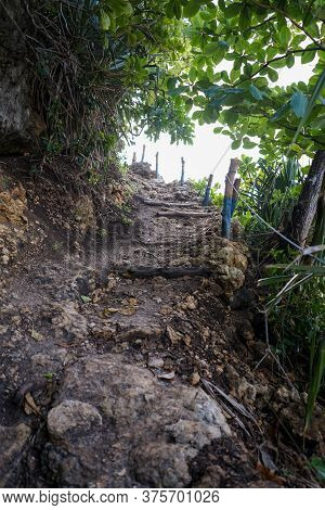 Stairs Leading To Top Of Hidden Hill For Great View At Batu Bengkung Beach Malang, East Java, Indone