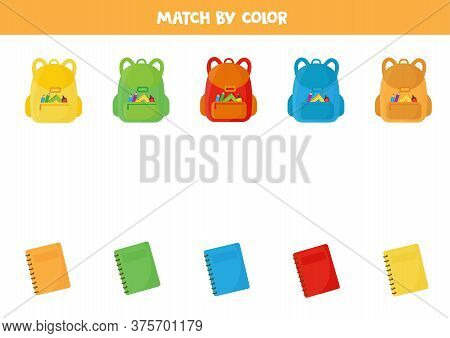 Match School Backpack And Copybook By Color.