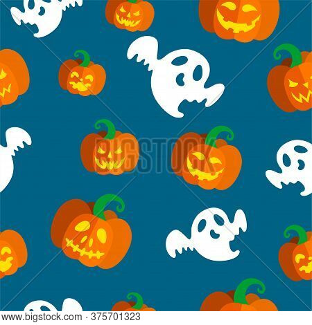 Seamless Pattern With Spooky Ghosts And Illuminated Carved Pumpkins For Halloween. Vector Illustrati