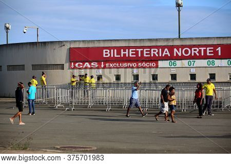 Salvador, Bahia / Brazil - October 20, 2017: Ticket Office For The Sale Of Tickets At The Estadio De