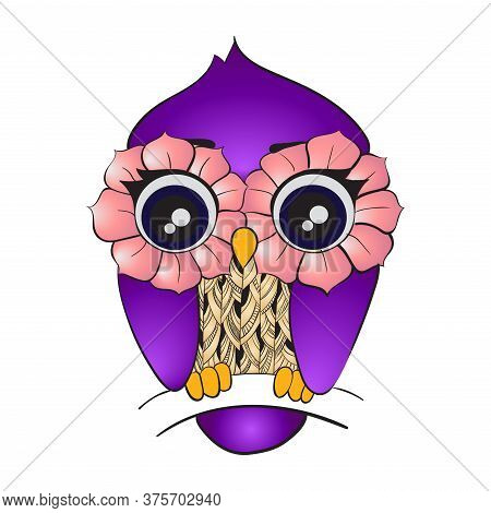 Vector Image Of Cartoon Owl Sitting On Tree Branch Isolated On White Background. Purple Cute Bird Wi