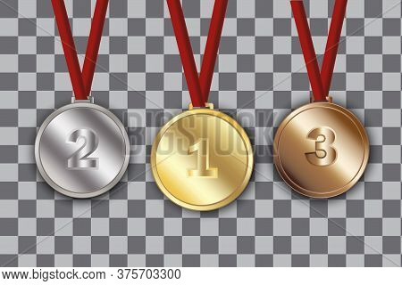 Medal As A Trophy For A Place. Three Awards Bronze Gold Silver. Prize To The Winner. Metal Medallion
