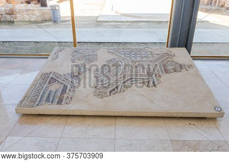 Jerusalem, Israel, January 25, 2020 : Partially Preserved Mosaic - Exhibit Of The Museum Of The Good