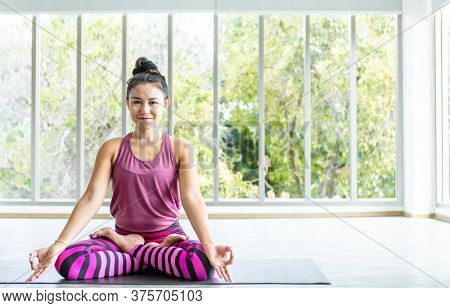 Asian Women Workout Practicing Yoga Training Put On Pink Clothes And Practice Meditation Wellness Li