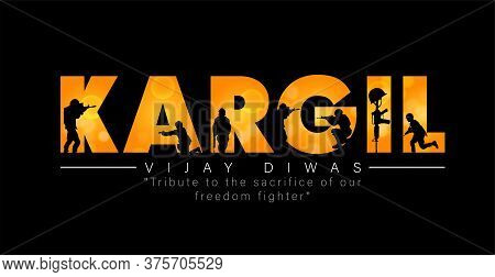 Illustration Of Silhouettes Of Soldiers Abstract Concept For Kargil Vijay Diwas, Banner Or Poster. V