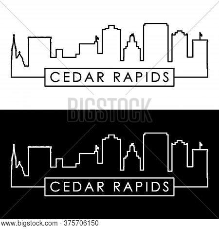 Cedar Rapids Skyline. Linear Style. Editable Vector File.