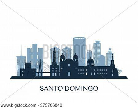 Santo Domingo Skyline, Monochrome Silhouette. Vector Illustration.