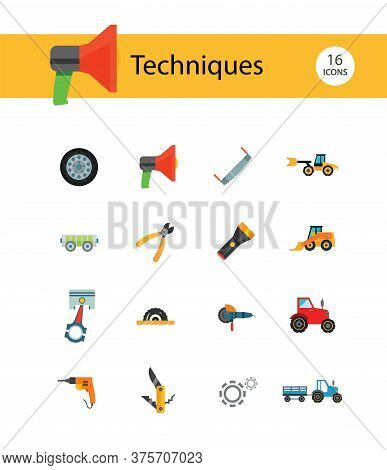 Techniques Icons Set With Woodsawing Machine, Electric Drill And Hand Saw. Thirteen Icons