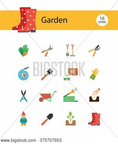 Garden Icon Set. Spade, Rake, Hose, Sprout, Watering Can, Tools. Gardening Concept. Can Be Used For