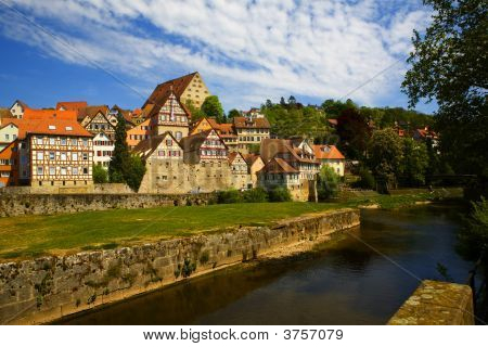 Skyline of Schwaebisch Hall a remote town in southern Germany poster