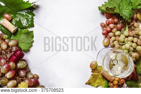 Dry White Wine From Chardonnay Grapes, Fruit And Vine, Top View, Selective Focus